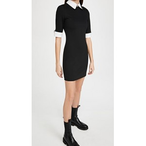 alice + olivia Female Delora Fitted Collared Dress Black/Off White going out LRUC907