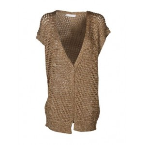 Young Women's Fabiana Filippi Spring Summer 2021 drilled cardigan in bronze color For Work For Sale DBKD780